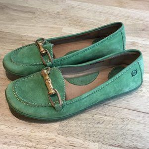 Born Green Suede Bamboo Loafers Size 8
